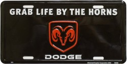 LP-1018 Dodge Grab Life by the Horns License Plate - 2661