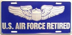 LP-114-2TLP-114 US Air Force Retired License Plate