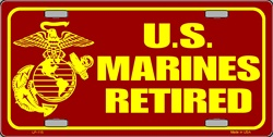 LP-115 US Marines Retired License Plate - 3335