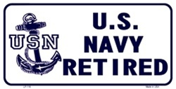 LP-116 US Navy Retired License Plate