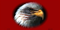LP-1318 American Flag w-Eagle on Dark Red Background License Plates Tags