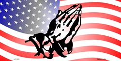 LP-1321 American Flag with Praying Hands License Plates Tags