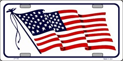LP-143 American Flag Waving -White- License Plate - 320W