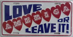 LP-144 Love America or Leave it License Plate - 54