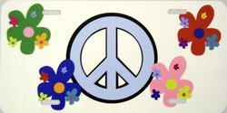 LP-2020 Peace Sign and Flowers License Plate