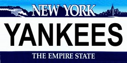 LP-2089 New York State Background License Plates - Yankees