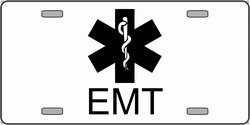 LP-2132 EMT Emergency Medical Technician Logo Emblem License Plates