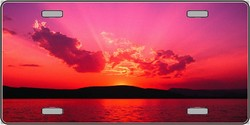 LP-2135 Ocean Sunset - Pink - Full Color Photography License Plates