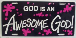 LP-251 God is an Awesome God License Plate - 3393