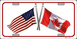 LP-516 USA - Canada Crossed Flags License Plate - 6560