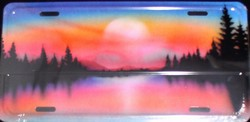 LP-544 Lake and Trees Sunset License Plate - AB010