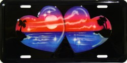LP-548 2 Hearts Ocean and Palms License Plate - AB014