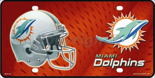 lp 709 miami dolphins nfl football license plate 1101m - Miami Dolphins License Plate Frame