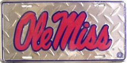 LP-939 Ole Miss Toolbox Silver Diamond Cut College License Plate - 2580